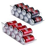 Refrigerator Organizer Bins Pop Soda Can Dispenser, Clear Plastic Canned Drink Holder Storage for Fridge, Freezer, Kitchen, Countertops, Cabinets (2)