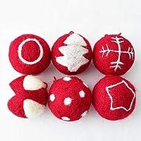 6つのクリスマスのウールボールオーナメントのためにクリスマスツリー、パーフェクトウェディングパーティーの装飾用ボールの装飾クリスマスボールをぶら下げ、6センチメートル、3センチメートル red-6CM