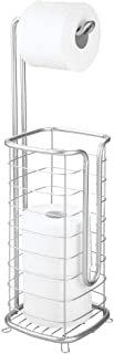 mDesign Metal Free Standing Toilet Paper Holder Stand and Dispenser, with Storage for 3 Spare Rolls of Toilet Tissue While...