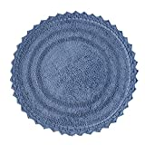 Soft Cotton Crochet Round Pattern Bath Rug - Mats for Bathroom, Shower, Bath Tub, Sink, Toilet - (24 Inches, Ocean Blue)