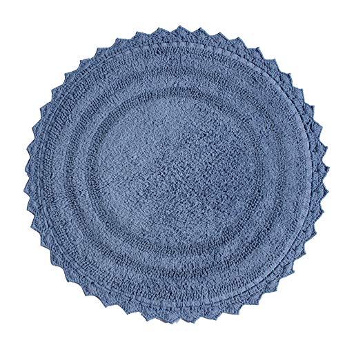 Alfombra de baño de algodón Suave con patrón Redondo de Ganchillo - Tapetes para baño, Ducha, bañera, Lavabo, Inodoro - (61 cm, Azul océano)