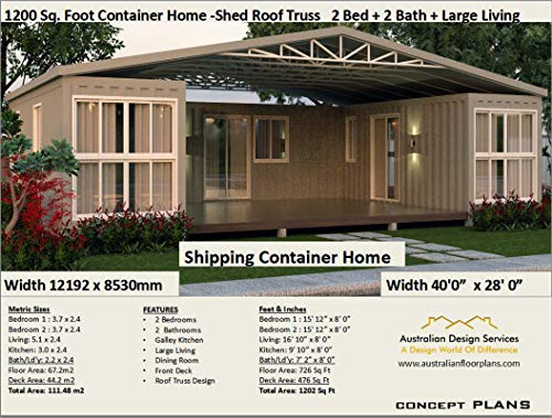 Amazon Com Shipping Container Home Plans 1200 Sq Foot 2 Bedroom Container Home Full Architectural Concept Home Plans Includes Detailed Floor Plan And Elevation Plans Ship Container Homes Book 12003 Ebook Morris Chris