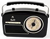 GPO Rydell- Radio Retro Portable 4 bandes FM / MW / SW / LW avec cadran rétro - Noir