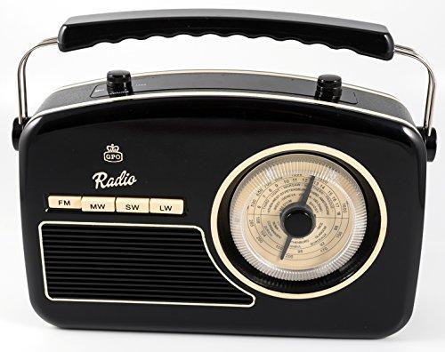 GPO Rydell Retro Tragbares 4-Band-UKW- / MW- / SW- / LW-Radio mit Retro-Zifferblatt - Schwarz