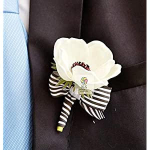 Artificial and Dried Flower Handmade Wedding Supplies Corsage Groom Boutonniere Bride Bridesmaid Wrist Flower PU White Anemone Artificial Flowers Corsages