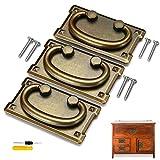 xianzhanEU 3 PCS Vintage Möbelgriffe,Antik Bronze Schubladengriffe,für Schränke Kommoden Schublade Truhen,mit 6 × Universalschrauben + 1 × Schraubendreher