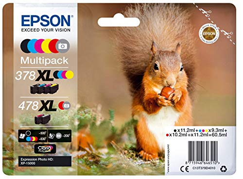 Epson Original 378XL/478XL Tinte Eichhörnchen, XP-15000, Amazon Dash Replenishment-fähig (Multipack, 6-farbig)