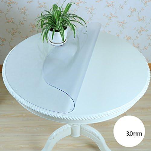 QWM-Extra Größe Tischdecke Matte runde Tischdecke, PVC Weißhes Glas runde Tischdecke wasserdichte Tischdecke rutschfeste Kristallplatte QWM-Tischtuch ( Farbe   Round 3.0mm , Größe   Round 110cm )