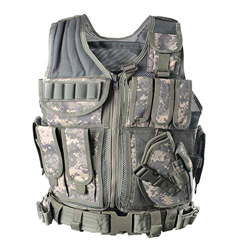 GNNFIC Tactical Vest, Outdoor Breathable Training Mollle Vest with Holster Adjustable for Adults for Combat Training and Military Fans,Hunting (ACU)