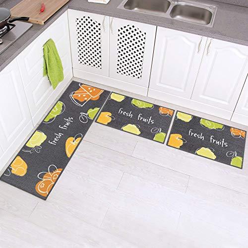Carvapet 3Stk Küchenläufer Waschbar rutschfest Küchenmatte Küchenteppich Waschbar Teppich Läufer Küche Fußmatte Badematten Set (Frische Früchte)