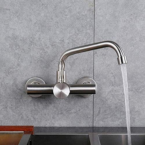 Grifo de pared grifo de agua fría y caliente montado en la pared fregadero de cocina balcón de acero inoxidable lavadero piscina grifo de fregadero giratorio