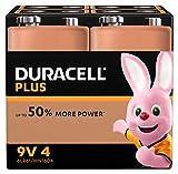 Duracell Plus 6LR61/MN1604 - Pila 9 V, (paquete de 4 unidades) (El embalaje puede variar)