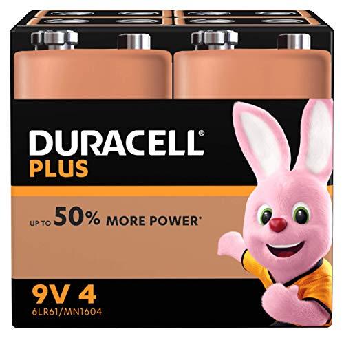 Duracell Plus 6LR61/MN1604 - Pila 9 V, (paquete de 4 unidades) (El embalaje puede variar), Exclusivo de Amazon