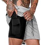 SOMTHRON - Pantalones cortos 2 en 1 para hombre, de secado rápido, para correr, fitness, con bolsillos, Primavera-verano, Sin mangas, Hombre, color Color gris., tamaño XL