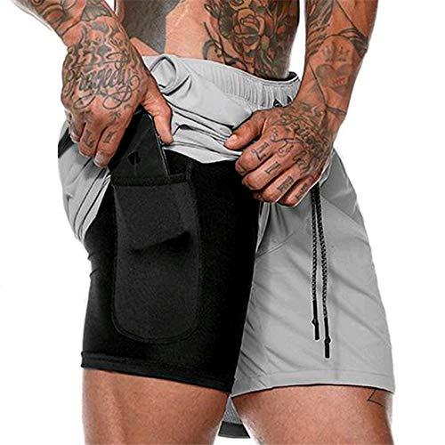 SOMTHRON - Pantalones cortos 2 en 1 para hombre, de secado rápido, para correr, fitness, con bolsillos