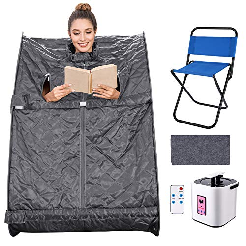 elifine Portable Steam Sauna Spa Home 2L Personal Therapeutic Sauna with Remote Control One Person Sauna Tent with Foldable Chair Timer (Dark Silver)