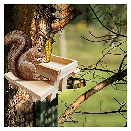 Rod Holders Eichhörnchen-Feeder-Picknick-Tisch Große Holzzuführungen mit Mais COB-Halter, lustige robuste Eichhörnchen-Lieferungen, für Baum-Zaun im Freien, Plattformbank-Fütterung