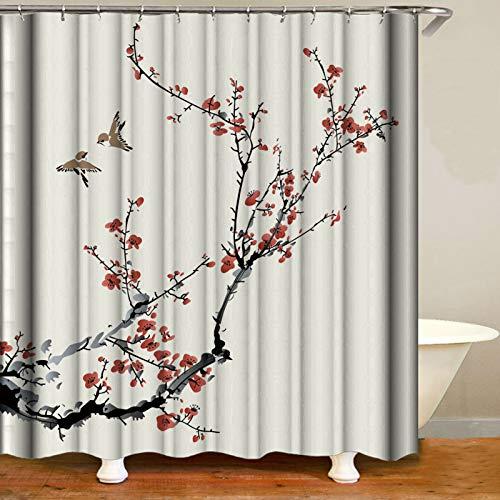 DJIHGELA Cortina de la duchaCortina de Ducha exquisitamente Estampada, a Prueba de Moho, Lavable con 12 Ganchos, tamaño: 180 cm * 180 cm