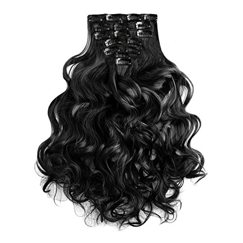Clip In Extensions schwarz gewellt gelockt Haarverlängerung Set 60 cm – 7 Haarteile Haarverdichtung