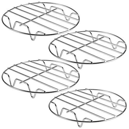 Picowe 4Pack 8inch Cooling Racks Steamer Rack Steaming Baking Rack Set Stainless Steel Round Rack for Baking Canning Cooking Steaming Lifting Food in Pots Fits Air Fryer Stockpot Pressure Cooker