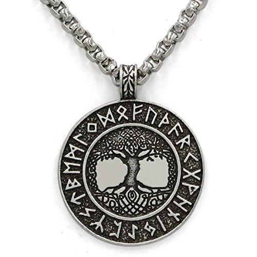loveeindec nordischen Wikinger Runen Amulett Anhänger Halsband Baum des Lebens Runen Anhänger Halsband Nordic Talisman