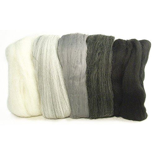 RAYHER HOBBY 5364900 Filzwolle, Merinowolle, Kammzug, fein, 19 mic, 5 Farben je 10g, Grau-Töne, 100% Schafschurwolle zum Filzen, 50g