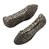 JOINFREE Sandalias Planas de Verano de Playa de gelatina Hueca Suave para Mujer Zapatillas de Ballet de gelatina Negras Lindas para Mujer Slip on Hollow out Slippers3.5 UK
