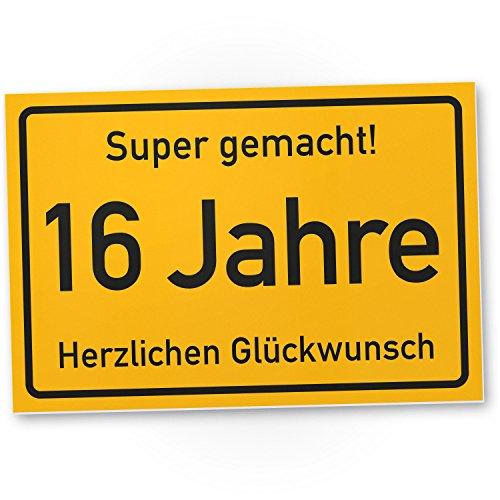 Bedankt! 16 jaar stadsbord/plastic bord - cadeau 16e verjaardag, cadeau-idee verjaardagscadeau zestientjes, verjaardagsdecoratie, feestaccessoires, verjaardagskaart