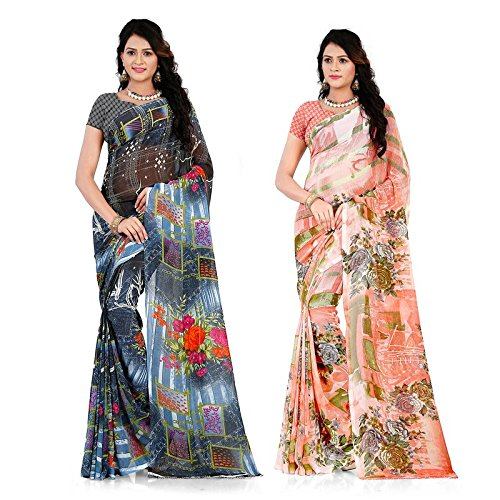 Anand Sarees Georgette Saree with Blouse Piece (Pack of 2) (COMBO_1285_1287_Multi_One Size)