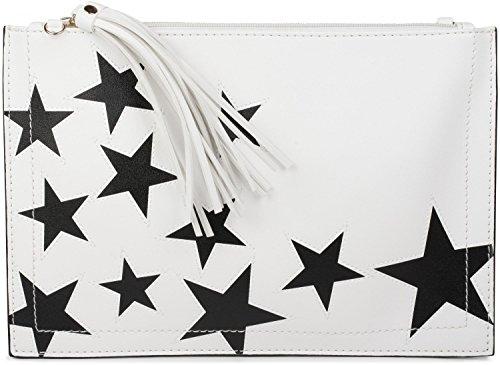 styleBREAKER pochette con motivo a stella, ciondolo con nappa sulla cerniera, cinturino per mano e tracolla, da donna 02012075, colore:Bianco