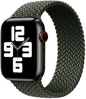 Dado Braided Solo Loop Nylon fabric Strap For Apple Watch, Elastic Bracelet for iWatch Series 6 SE 5 4 3 with metal connec...