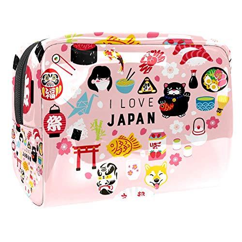 Trousse de toilette multifonction pour femme avec inscription I Love Japan Sakura Sushi Heart