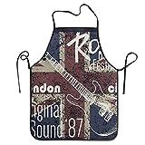 Grembiule con Lacci Extra Lunghi Grembiule da Cucina per Uomo e Donna per Cucina Pasticceria artigianatoing Giardinaggio Barbecue Vintage Union Jack Rock Music Note