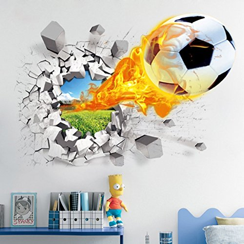 3D Football Wall Stickers Living Room Bedroom Decal Cartoon Boys Teens Kids Children Room Wall Art Murals Wallpaper Poster
