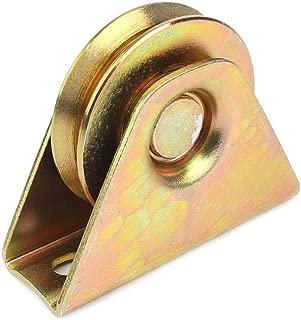 2Pcs 2 Inch (48mm) Diameter Gold V Groove Wheel for Sliding Rolling Slide Chain Gear Rack Gate Track, Rigid Caster for Gate Frame,for Industrial Machines Carts 300KG