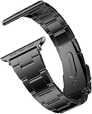 JETech Correa Reemplazable para Apple Watch 42mm y 44mm Series 1 2 3 4, Acero Inoxidable, Negro