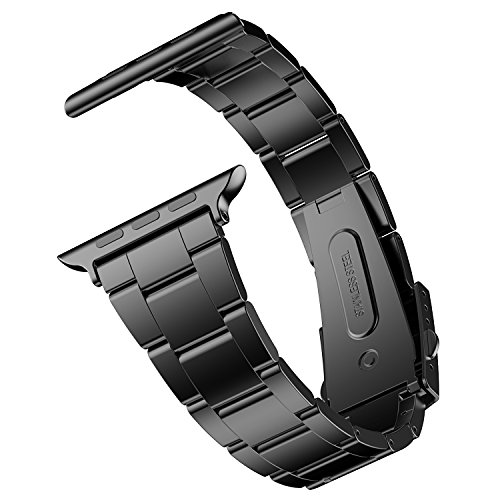 Apple Watch cinturino con fibbia in metallo, compatibile con Apple Watch 44mm e 42mm Serie 1/2/3/4/5 Realizzato in acciaio inossidabile, elegante arte superiore, che aumenta la durata del cinturino Il design pieghevole con chiusura in metallo lo rend...