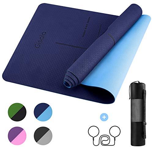GISALA Tapis de Yoga TPE, Tapis de Sport Écologique Matériaux Recyclables,183x61x0.6cm, Tapis Yoga Antidérapant et...