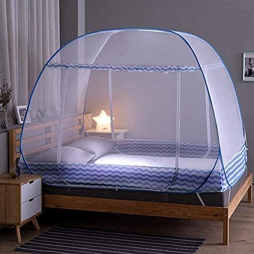 Mosquiteras Pop Up Mosquito Net para cama individual, Tiempo de Tienda Portátil Viaje con doble puerta con cremallera red 200 150 145 cm, al aire libre Mongolian Yurt Dome Net Instalación gratuita y r