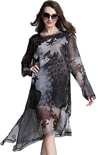 YALI Robe en mousseline de soie imprimée fleur Taille XXXL Manches longues de paon gris.