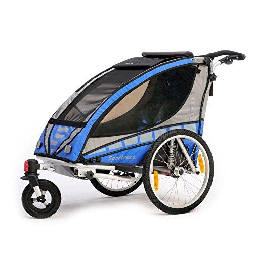Qeridoo Sportrex 1 Kinder-Fahrradanhänger (1 Kind) - blau