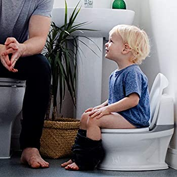 Nuby My Real Potty Training Toilet with Life-Like Flush Button & Sound for Toddlers & Kids White/Gray