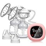 Bomba de lactancia eléctrica, extractores de leche dobles NEKAN portátil de doble aspiración Bomba de leche con pantalla táctil LCD inteligente con succión de leche materna, masaje de mama y lactancia