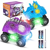 Vimzone Dinosaurier Autos für Kinder, Dinosaurier Autos Spielzeug mit Großem Reifenrad & LED-Licht & Realistischer Sound, 3-8 Jahre Alte Jungen Mädchen (2 Pack, Blau + Lila)
