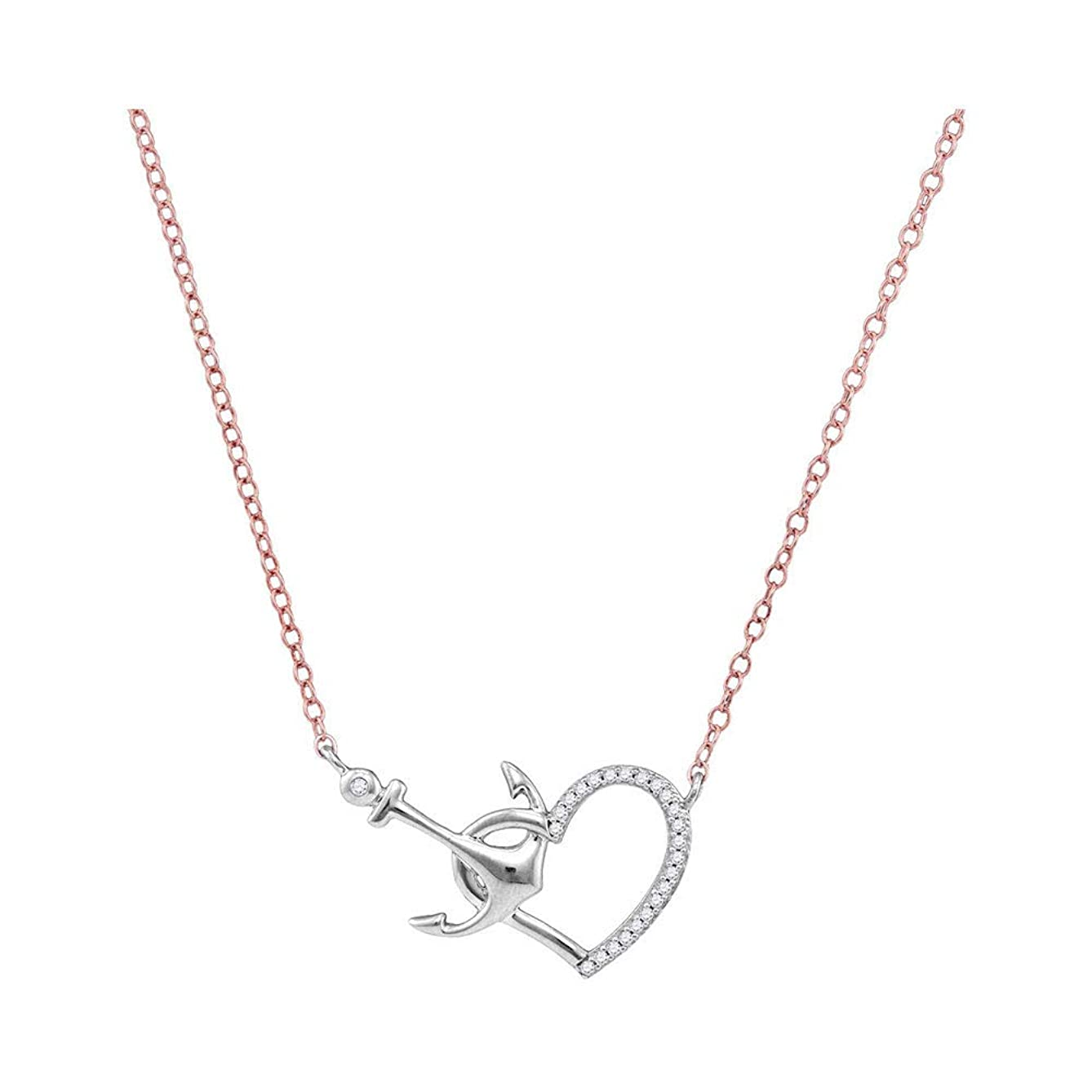 The Diamond Deal 10kt White Gold Womens Round Diamond Heart & Anchor Pendant Necklace 1/12 Cttw