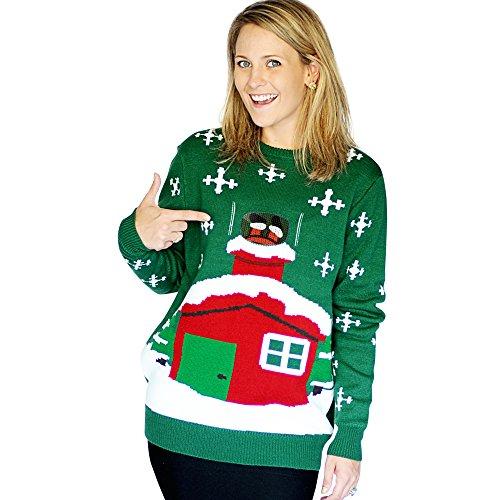 Morphsuits - Maglione in stile natalizio per adulti, motivo: Babbo Natale incastrato nel camino, L