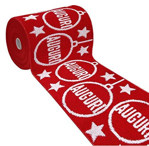 ARREDIAMOINSIEME-nelweb Tappeto Cucina Natale Auguri Rosso passatoia corsia Multiuso bordata Retro Antiscivolo in 7 Misure 100% Made in Italy MOD.Odetta (50x40cm)