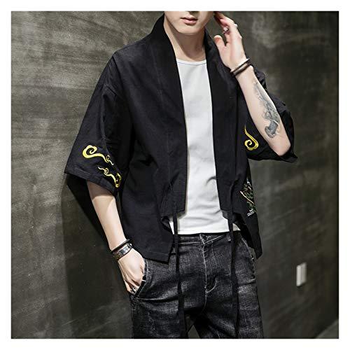 Verano algodn Lino Kimono crdigan Chino Bordado Ropa Hanfu Hombres de Gran tamao 3xl-5xl Cosplay Disfraces Abrigo Vestido Suelto (Color : Negro, Size : 4XL)