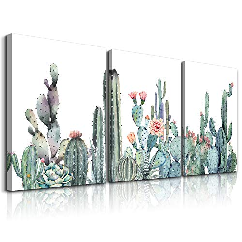 Canvas Wall Art for bedroom living room Canvas Prints Artwork bathroom Wall Decor Green plants cactus flower watercolor painting 16' x 24' 3 Pieces modern Framed Ready to hang Office Home Decoration