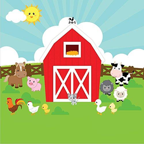 Farm Cottage Red Barn Barnyard Hens Koe Hek Groen Tuin achtergronden Vinyl doek Computerprint kinderen Achtergrond CST955